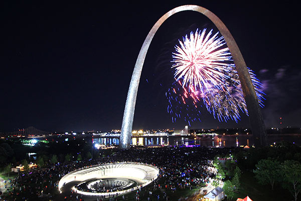 Gateway Arch Park with fireworks