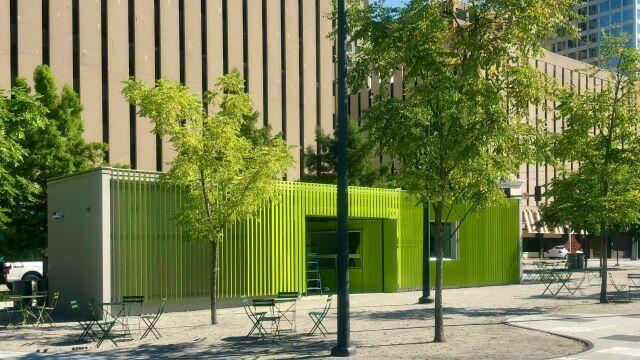 New Visitor Services Building in Kiener Plaza
