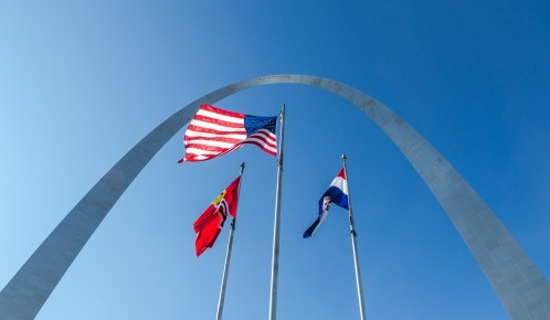 The Flags beneath the Arch