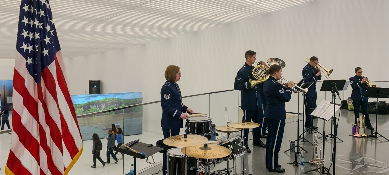"Honoring the bravery and sacrifice of all U.S. military veterans, our 2019 ""Salute to Veterans"" featured a performance by the Airlifter Brass quintet of the United States Air Force Band of Mid-America"