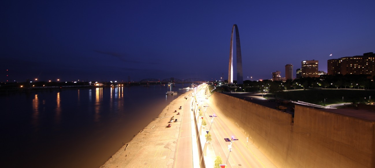 The Riverfront at night
