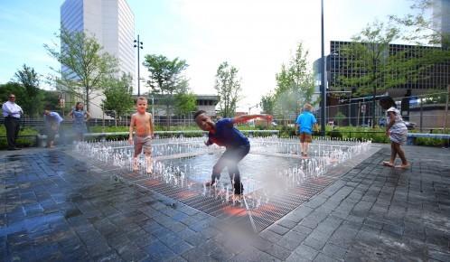 children playing at kiener plaza