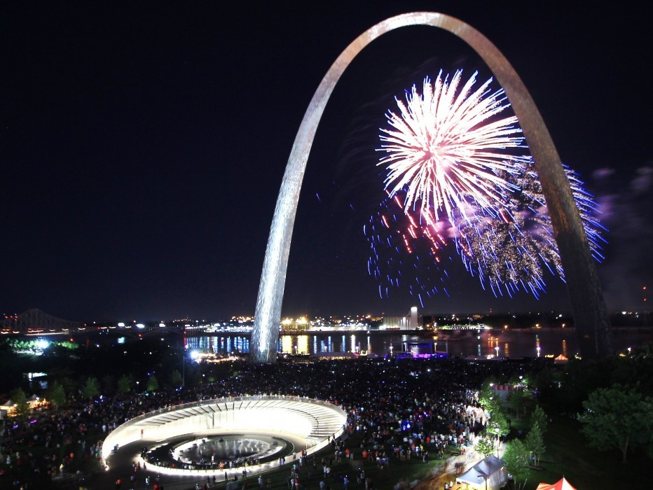 Gateway Arch at night with fireworks