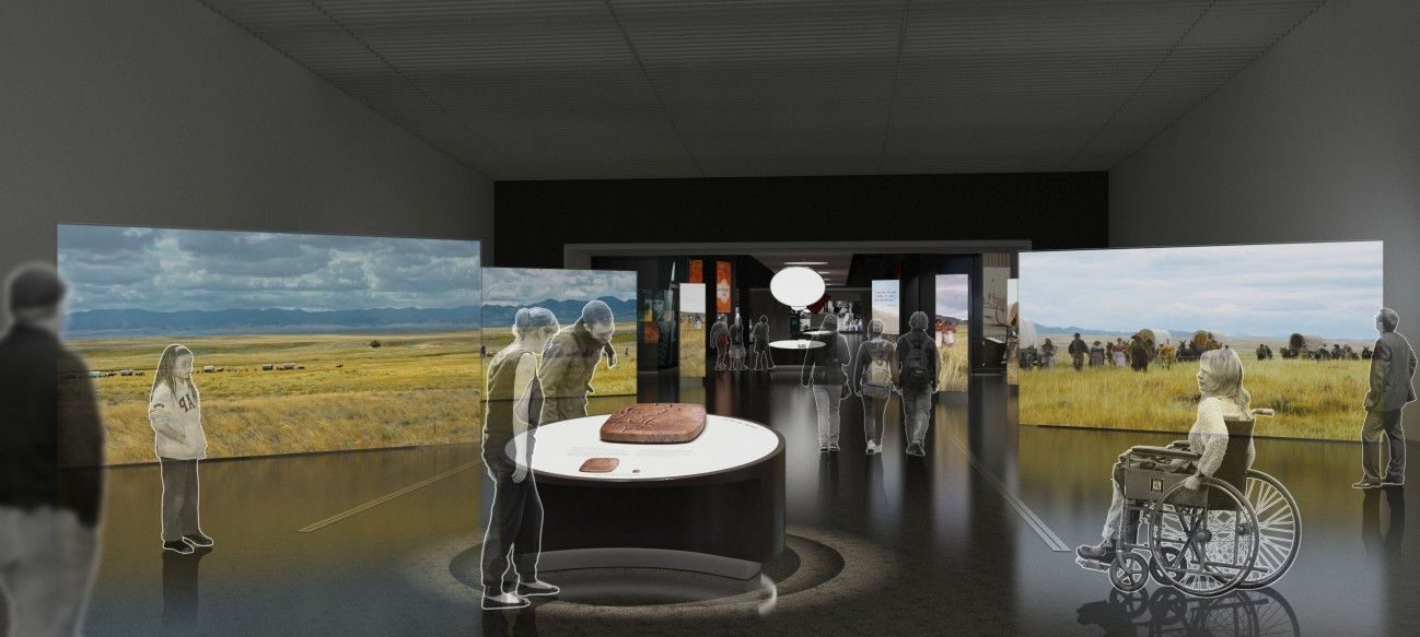 Heading West - Visitors entering the museum at the Gateway Arch will be greeted by seven monumental video screens that will show scenes of American Indian culture, overlanders on historic trails, amazing landscapes, and more.