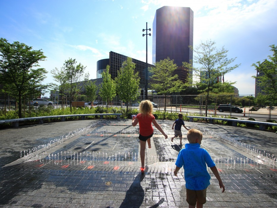 Kids playing on Kiener Plaza splash pad