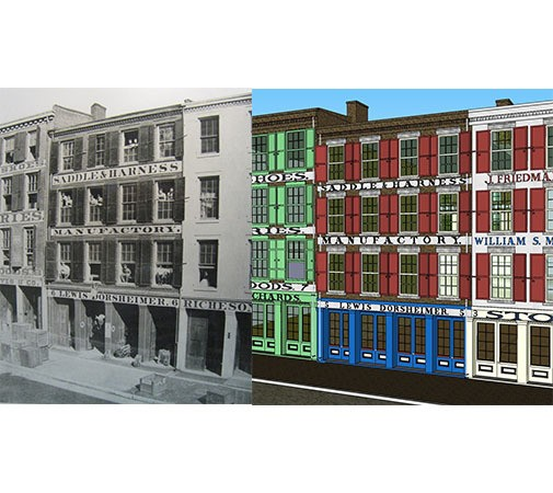 Historic photo of the St. Lois levee buildings. (black and white) and Model of levee buildings created in Sketch Up. (color)