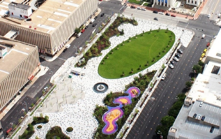 Kiener Plaza overhead